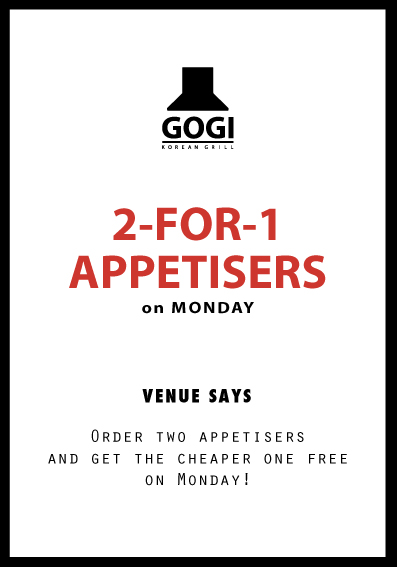 2-FOR-1 APPERTISERS, on MONDAY, VENUE SAYS